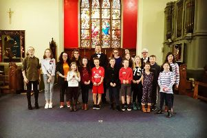 Nidderdale's Got Talent contestants with the Rev Darryl Hall and Nevin Ward, the MCs for the contest.