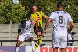 George Thomson scored a fine header last time Harrogate Town tackled Boreham Wood. Picture: Matt Kirkham