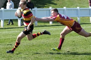 Andrew Lawson on the run for Harrogate RUFC during Saturday's home success over Sandal. Picture: Richard Bown