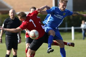 Danny Blacker fired Harrogate Railway ahead in Saturday's derby clash with Knaresborough Town. Picture: Craig Dinsdale