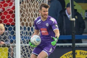 Harrogate Town goalkeeper James Belshaw. Picture: Matt Kirkham