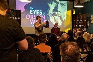 Independent filmmaker Mark Cousins at a Q & A with host/interviewer Graham Chalmers of the Harrogate Advertiser at independent craft beer bar and coffee house Starling during Harrogate Film Festival.