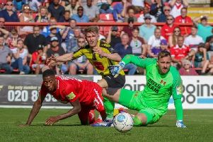 Jordan Thewlis twice came within a whisker of equalising for Harrogate Town at Leyton Orient. Picture: Matt Kirkham