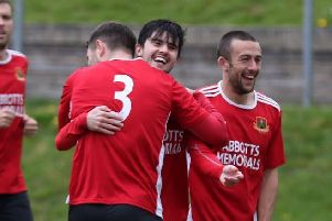 Conor Donoghue is congratulated after scoring the only goal against Liversedge as Knaresborough Town signed off for 2018/19 with a victory. Picture: Craig Dinsdale