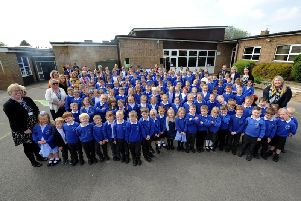 Pupils and staff at the Moorside Primary School and Nursery amalgamation celebration. Picture: Gerard Binks.