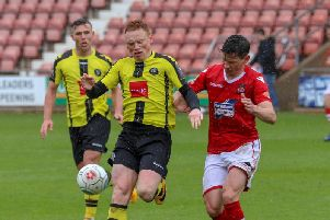 Michael Woods made his final Harrogate Town appearance in a 2-1 defeat at Wrexham on the final day of the regular 2018/19 season. Picture: Matt Kirkham