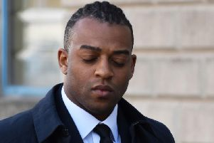 Former JLS singer Oritse Williams arriving at Wolverhampton Crown Court for the second week of a rape trial, at which he denies attacking a woman in his hotel room in the city in December 2016.