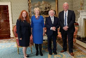 President Michael D Higgins and Mrs Sabina Higgins with Chrissy Meleady. in The Presidents Official Residence - ras an Uachtarin