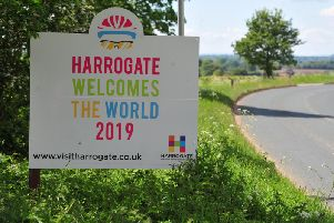 "The sign that says the world's greatest cyclists - and fans - are coming to town. One of the new ""Harrogate Welcomes The World 2019"" signs. (Picture Gerard Binks)"