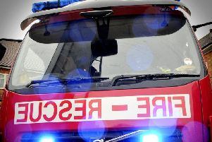 A man has been taken to hospital after a fire at a Ripon home this morning, and another has been treated for burns.