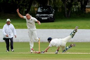 Tom Geeson-Brown attempts a run-out.