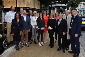 Free parking campaign - Yvonne Nightingale general manager Ogden's jewellers, Stephen Neall Stephen Neall group, Iain and Caroiline Gardner Caroline Gardner Design, Helen James florist, Hazel Barry of H2K Harrogate, Ben Ogden, Emma Tinker of Whites, David and Jo Straker of William & Victoria Winebar Restaurant, William Woods of Woods of Harrogate, Malcolm Neesam Harrogate Historian and Robert Ogden. Picture by Gerard Binks