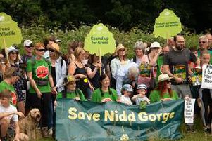Members of the public at  the Woodland Trust's 'Save Nidd Gorge protest walk  in Harrogate.