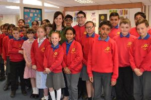 Frances Anforth and Casterton Academy pupils