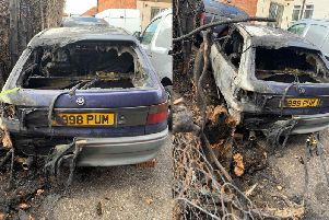 Two cars were damaged along with a hedge, a garage and fencing