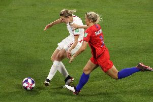 Ellen White finishes from what emerged as an offside position for England against the US