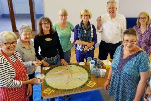 Joining the talented ladies who made the mosaic artwork. Photo taken by Kirsty.