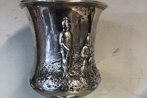 A Victorian silver presentation trophy cup, hallmarked London 1860. 'Country of Lancashire Rifle Association presented by The Liverpool Stock Exchange  ' �85.