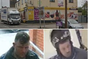 The two men are wanted by police for the raid on the Premier shop.