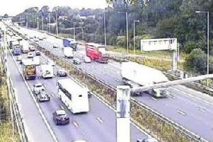 Highways said the congestion and delays are due to a 'large volume of traffic' on the M6