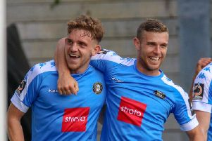 Best mates Callum Howe and Jack Muldoon celebrate a goal together at Maidstone United. Picture: Matt Kirkham