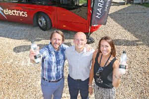 Celebrating a new deal between Harrogate Bus Company and leading Harrogate brand Harrogate Spring Water.