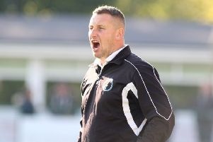 Buxton FC v Lancaster, joint manager Paul Phillips