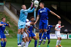 Action from FC Halifax Town v Dag and Red at The Shay last season.