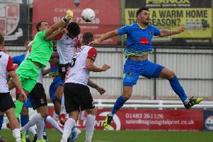 Connor Hall in action during Harrogate Town's National League defeat at Woking. Picture: Matt Kirkham