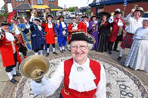 Garstang town crier Hilary McGrath with the other town criers.