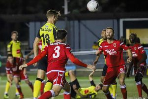 Jack Muldoon discreetly heads Harrogate Town into a 2-0 lead against Chorley, much to the surprise of at least one supporter. Picture: Matt Kirkham