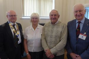Probus Club chairman Chris Dodd, Denise Massey, Gerald Massey and Harold Phillips, who introduced the speakers.