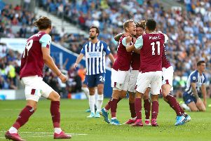 Jeff Hendrick celebrates his late equaliser with Matej Vydra and Dwight McNeil