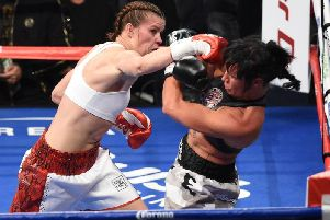 Savannah Marshall in action over in the US on debut in 2017.