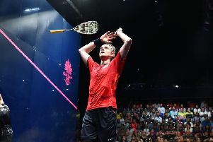 MAGIC MOMENT: James Willstrop celebrates winning the men's singles gold medal at the Commonwealth Games earlier this year. Picture: World Squash Federation/Toni Van der Kreek