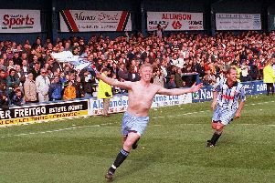 Hartlepool United legend Joe Allon celebrates his famous winning goal at Darlington in 1997. Our letter writer suggests certain Government ministers deserve season tickets at Darlo.
