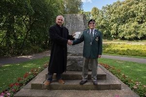Stephen Close (left) with Brian Coward of the DLI Association receiving a cheque for �250 towards a new Boer War statue in Ward Jackson Park, Hartlepool.
