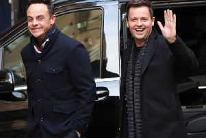 Ant McPartlin, left, and Declan Donnelly arrive at the Britain's Got Talent auditions at the London Palladium. Pic: Jonathan Brady/PA Wire.