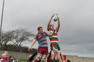 Horden & Peterlee RFC (bugundy/blue) v West Hartlepool (red/green/white) at Eden Lane, Peterlee, on Saturday.