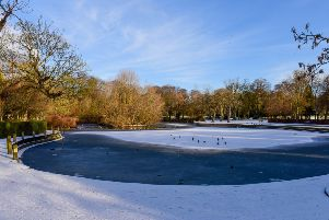 Partially frozen, snow-covered pond in Ward Jackson Park.