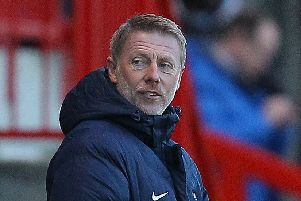Picture by Gareth Williams/AHPIX.com. Football, Sky Bet League Two; 'Crawley Town v Hartlepool United; 14/01/2017 KO 3.00pm;  'Checkatrade.com Stadium;'copyright picture;Howard Roe/AHPIX.com'Hartlepool boss Craig Hignett with a rueful look at the fourth official