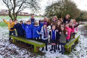 The Friends of West Park Primary School, Hartlepool, have won �10,000 funding from Aviva to improve outdoor learning space. The group are pictured celebrating with pupils in an area that  will benefit from the funding.