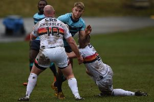 Jack Ormondroyd in action for Featherstone Rovers at Bradford when on dual reg.