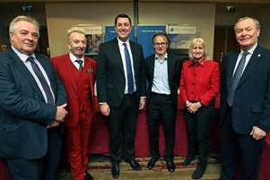 The Tees Valley Mayor, Ben Houchen, and five local authority leaders following the meeting to approve the airport purchase.From left, Coun Bob Cook, Coun Christopher Akers-Belcher, Mayor Houchen, Coun Stephen Harker, Coun Sue Jeffrey and Mayor Dave Budd.