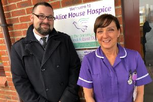 Daniel Laughton from Co-op Funeralcare and Alice House Hospice healthcare assistant Amanda Roberts.