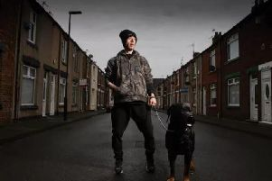 The Channel 4 show Skint Britain: Friends Without Benefits features 'David' with pet dog Benson.