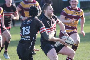 Brods v Middlesbrough' Matt Carbutt passing to Phil Town for the first try,