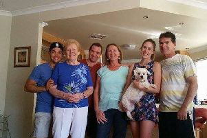 Fran, second left, next to grandson Michael, daughter Karen Brabham, granddaughter Amy and son-in-law Neale Brabham