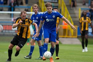 Actions from FC Halifax Town v Maidstone United, at The Shay. Jordan Preston