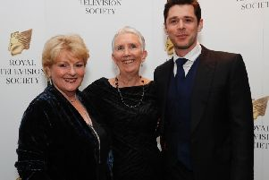 Vera star Brenda Blethyn with writer Ann Cleeves and her co-star Kenny Doughty.
